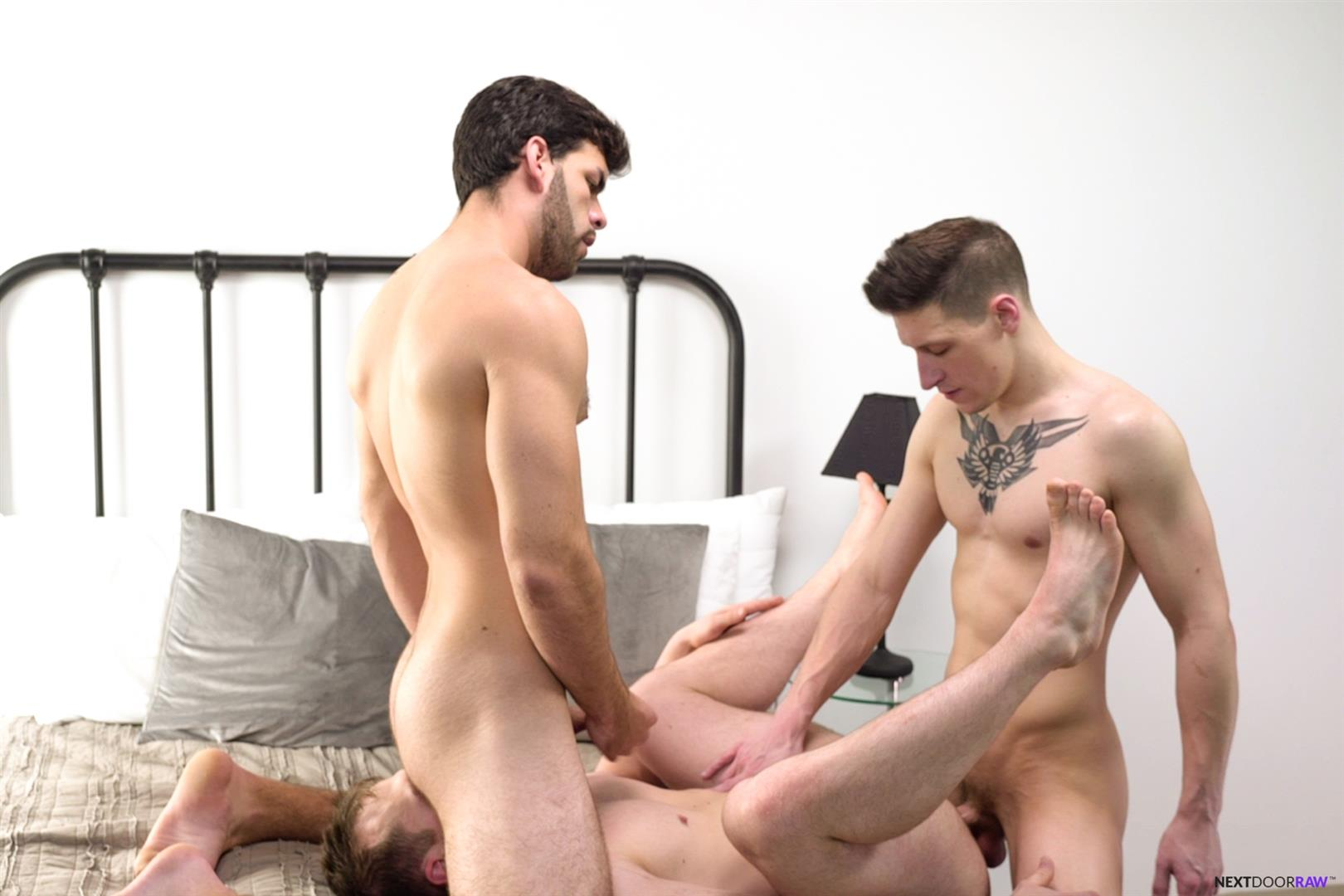 Next-Door-Raw-Dalton-Riley-and-Blake-Hunter-and-Zay-Hardy-Bareback-Threeway-15 Gay Boyfriends Invite A Trick Over For A Bareback Threeway